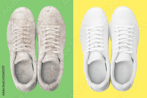 Pair of trendy shoes before and after cleaning on color backgrounds, top view Tableau sur Toile