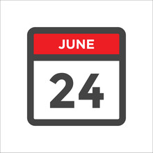 June 24 Calendar Icon With Day Of Month