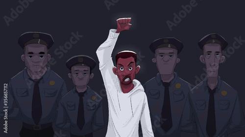 Obraz na plátne Black Lives Matter protesting against racism and police brutality