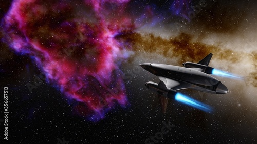 spaceship flies near exoplanet, spaceship of the future in space, ufo, spaceship Wallpaper Mural