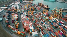 Cargo Containers In Busy Port,...