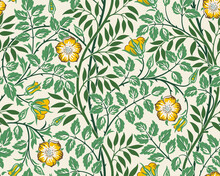 Vintage Floral Seamless Pattern Background With Yellow Roses And Foliage On Light Background. Vector Illustration.