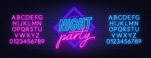 Neon Lettering Night Party On Brick Wall Background. Bright Glowing Sign. Neon Alphabet. Template For Design.