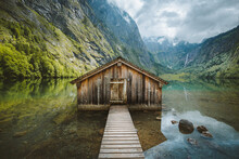 Wooden Boat House At The Shore...