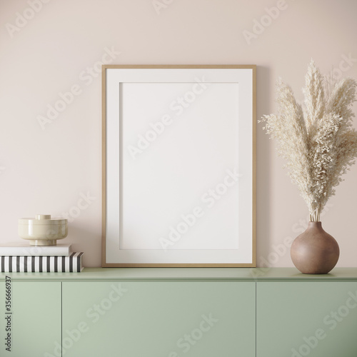 Fotografie, Tablou 3d render of a light pink modern mockup interior with wooden frame on a green si