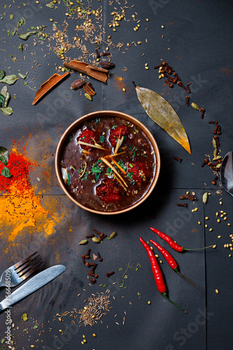 Indian food and spicy spices, stylish photos for the menu Wallpaper Mural