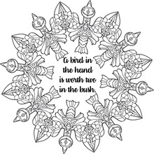 Adult Coloring Book / Antistress / Manadala With Motivational Text / Flower / Oriental Pattern / Tattoo / Zentangle