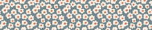 Seamless Background Floral Daisy Banner. Gender Neutral Baby Pattern. Simple Whimsical Minimal Earthy 2 Tone Color. Kids Nursery Flower Border Or Boho Fashion Tribbon Trim