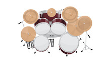 Drum Kit Top View On White Background, Flat Style Vector Illustration