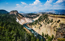 Calcite Springs Overlook Of Yellowstone River In Yellowstone National Park, Wyoming, United States