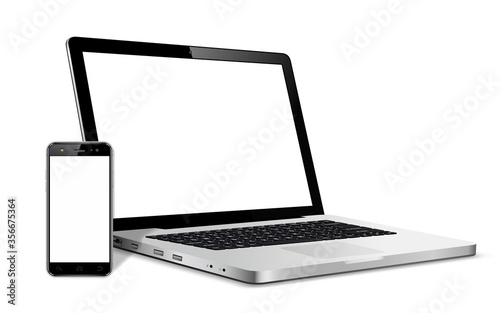Fotografía Modern smart phone and laptop device with blank touch screen