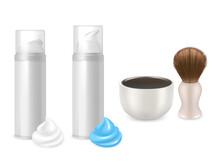 Vector Shaving Gel Foam Bottles, Shaving Brush, Mug Mockup Set