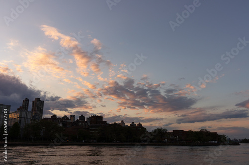 Roosevelt Island Skyline Silhouette during Sunset in New York City along the East River