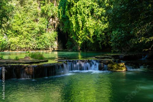 Fototapety, obrazy: Waterfall in deep tropical rain forest green tree