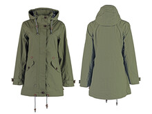Women's Winter Parka Jacket In Military Style.  Isolated Image On A White Background.  Front And Back View.