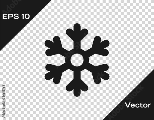 Fotomural Black Snowflake icon isolated on transparent background