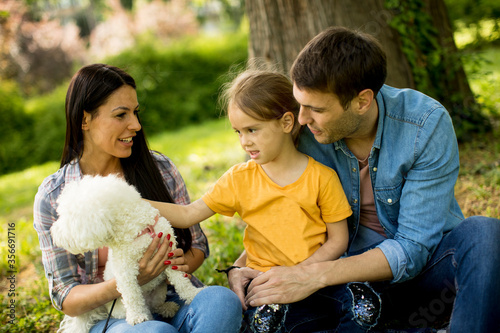 Photo Happy family with cute bichon dog in the park
