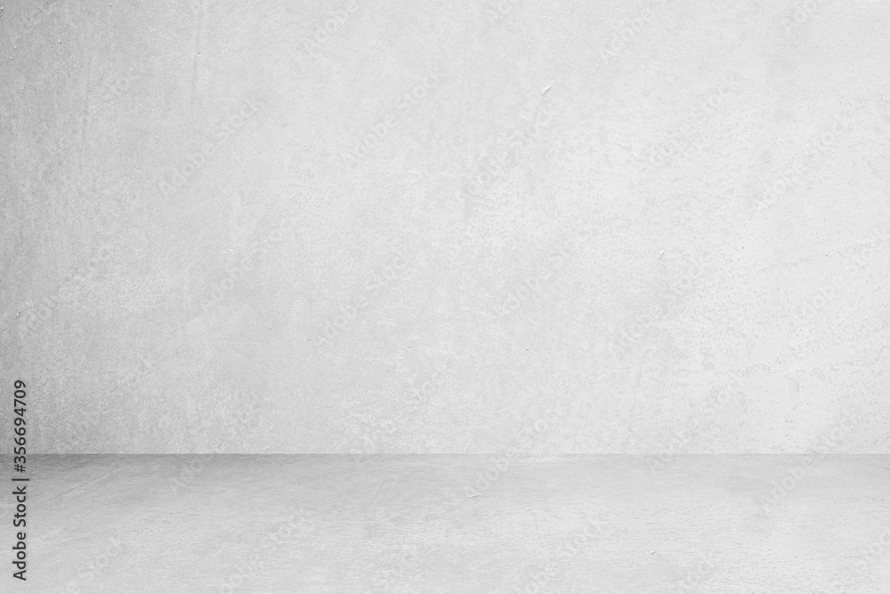 Fototapeta Room empty of cement floor with gray room cement or concrete wall texture background and sun light.