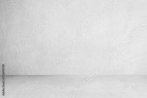 Room empty of cement floor with gray room cement or concrete wall texture background and sun light Fototapeta