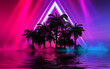 canvas print picture - Silhouettes of tropical palm trees on a background of abstract background with neon glow. Reflection of palm trees on the water. 3d illustration