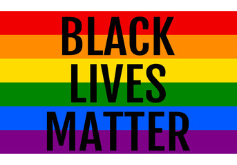Black lives matter, rainbow flag, LGBT, pride, vector