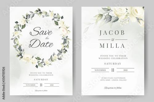 Fotografia wedding invitation card template set with white rose bouquet wreath leave waterc