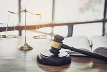 Scales Of Justice And Gavel On Sounding Block, Object And Law Book To Working With Judge Agreement In Courtroom, Justice And Law Concept