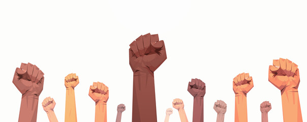 black lives matter raised up mix race fists awareness campaign against racial discrimination of dark skin color support for equal rights of black people horizontal vector illustration