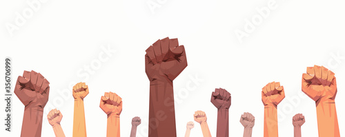 Cuadros en Lienzo black lives matter raised up mix race fists awareness campaign against racial di