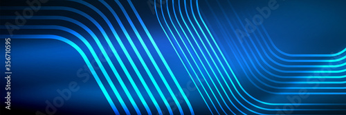 Fototapeta Shiny neon lines, stripes and waves, technology abstract background. Trendy abstract layout template for business or technology presentation, internet poster or web brochure cover, wallpaper obraz