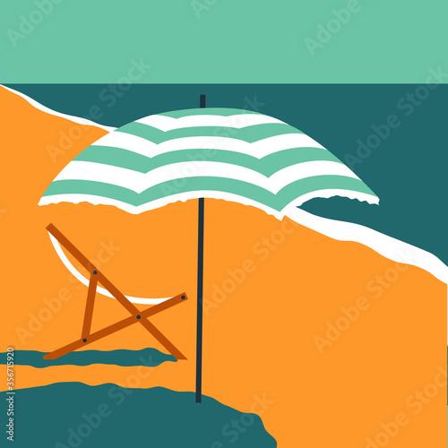 Fotografia beach umbrella, deck chair, sand, coastline