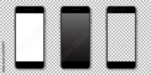 Obraz Realistic smartphone display mockup set. Smartphone mockup isolated on transparent background. Realistic vector illustration. - fototapety do salonu