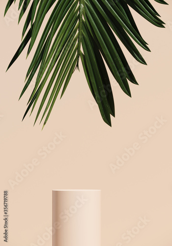 Minimal nature background for summer concept. Beige podium and green palm leaf on beige background. 3d render illustration. Object isolate clipping path included. Wall mural