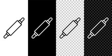 Set Line Rolling Pin Icon Isol...