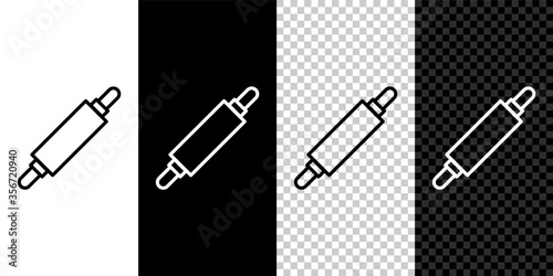 Obraz na plátně Set line Rolling pin icon isolated on black and white background