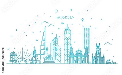 Bogota architecture line skyline illustration Canvas
