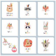 Set Of Cards With Cute Tribal, Indian Animals Faces And Decorative Hand Drawn Text. Vector Childish Illustration For Print, Fabric Design, Cards, Invitations.
