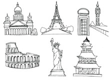 Architectural Attractions. Iskakievsky Cathedral Russia, Eiffel Tower France, Big Ben Britain, Colosseum Italy, Statue Of Liberty USA, Pagoda Japan.