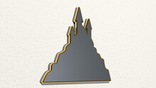 CASTLE OVER THE HILL Made By 3D Illustration Of A Shiny Metallic Sculpture On A Wall With Light Background