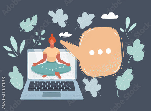 Photo Vector illustration of young woman in kimono attend yoga with laptop on white ba