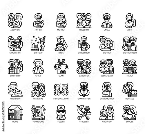 Valokuvatapetti Set of Family thin line and pixel perfect icons for any web and app project
