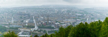 Panoramic View Of Halifax In West Yorkshire In The Rain