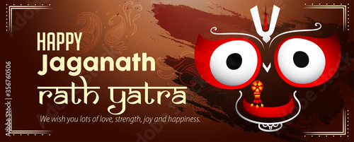 Fotografie, Obraz Vector design of Ratha Yatra of Lord Jagannath, Balabhadra and Subhadra for the
