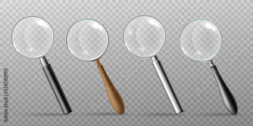 Set of magnifying glasses realistic vector templates illustration isolated Canvas Print