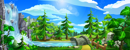 Forest with waterfall, river, leave trees and spruces. Panorama of cartoon, coniferous forest with mountains. Vector illustration. - 356762768
