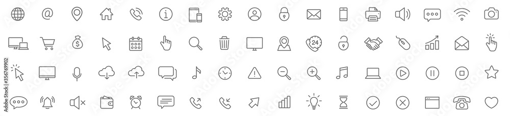 Fototapeta Web line icons set. Web, device, internet, seo thin simple icons. Editable Stroke - stock vector.