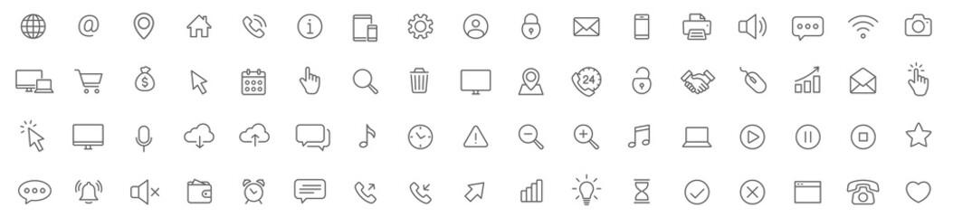 Web line icons set. Web, device, internet, seo thin simple icons. Editable Stroke - stock vector.