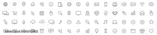 Fotomural Web line icons set