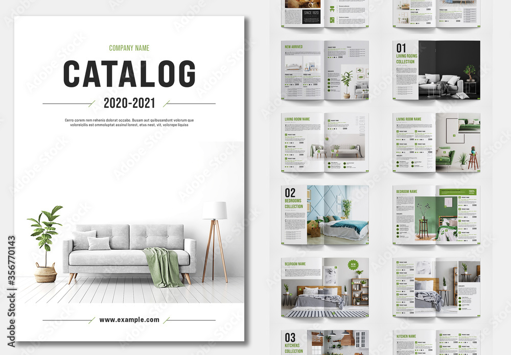 Fototapeta Product Catalog Layout with Green Accents