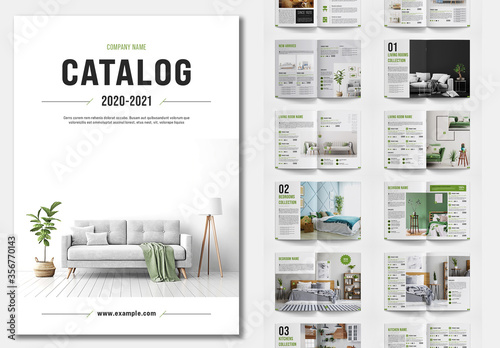 Fototapeta Product Catalog Layout with Green Accents obraz